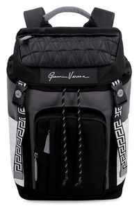 Leather details nylon backpack, Backpack Versace man