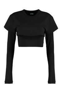Le Double long sleeve crop top, Long sleeved Jacquemus woman