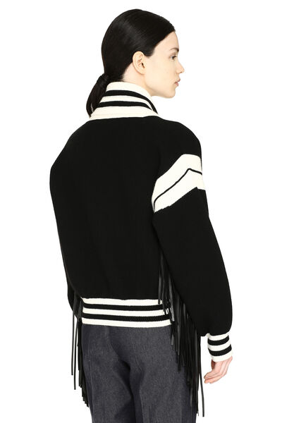 Cropped-length knitted cardigan