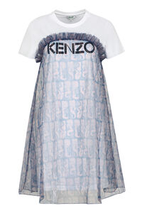 Layered cotton T-shirt dress, Printed dresses Kenzo woman