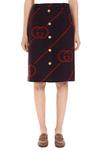 Logo detail knitted skirt, Knee Length skirts Gucci woman