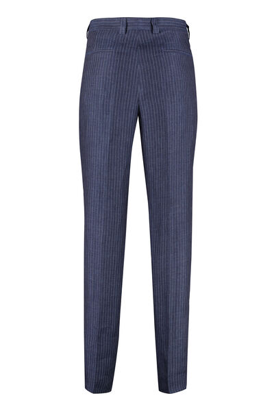 Pinstriped linen trousers