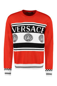 Intarsia wool sweater, Crew necks sweaters Versace man