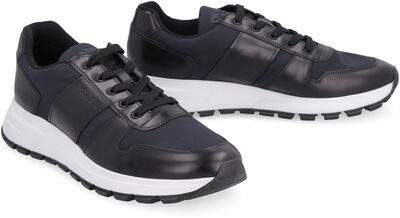 Techno-fabric and leather sneakers