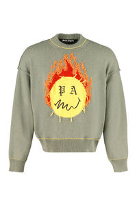 Smiley intarsia crew-neck cotton sweater, Crew necks sweaters Palm Angels man