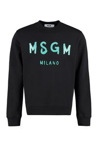 Logo detail cotton sweatshirt, Sweatshirts MSGM man