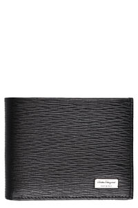 Leather textured flap-over wallet, Wallets Salvatore Ferragamo man
