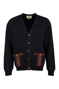 Cardigan in lana a coste, Cardigan Gucci man