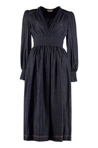 Denim midi dress, Midi dresses Fendi woman