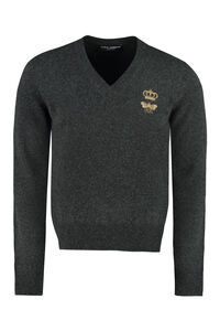 Virgin wool sweater with embroidery, V-necks Dolce & Gabbana man