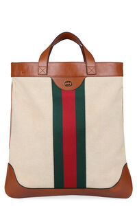 Shopping bag in pelle e canvas, Tote Gucci man